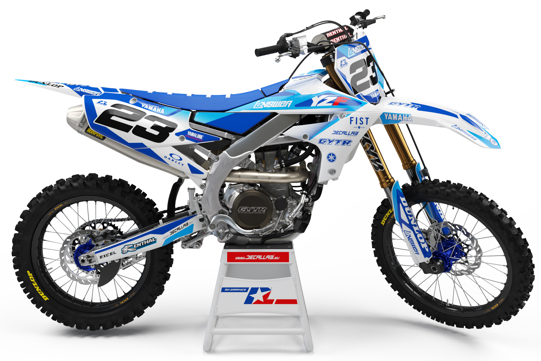 decallab yamaha factory one time answer decal dirt bike graphics kit yz yzf gytr fist 125 250 450 2019